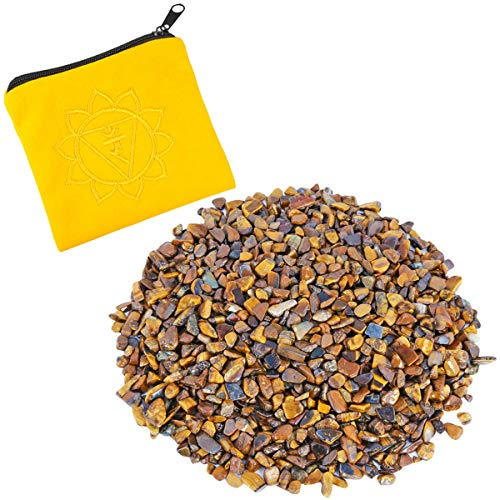 rockcloud 0.5 lb Small Tumbled Chips Crushed Stone with Chakra Bag Healing Reiki Crystal Home Decoration, Tiger's Eye (Chips Glass 1/2)
