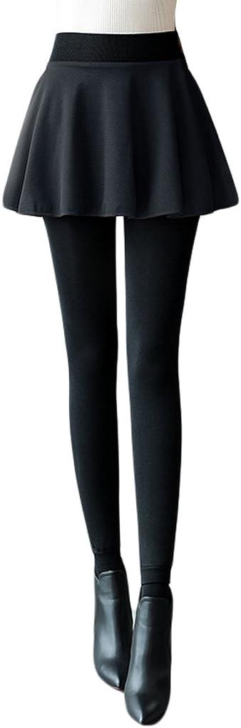 Romastory Womens Winter Fleece Lined Leggings Skirts Elastic High Waisted False 2-Pieces Pants