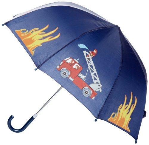 Playshoes Jungen Regenschirm 448590 Feuerwehr Design, One size, Blau (original)