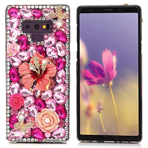 Maviss Diary Compatible Samsung Galaxy Note 9 Case, Full Edge 3D Handmade Luxury Bling Crytal Fashion Design Shiny Gem Pearl Rhinestone Diamond Clear Hard Protective Plastic PC Cover - Flower
