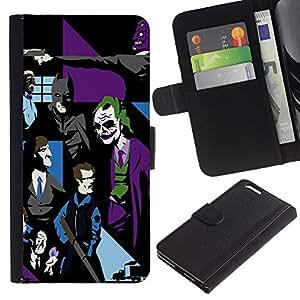 LECELL--Cuero de la tarjeta la carpeta del tirón Smartphone Slots Protección Holder For Apple Iphone 6 PLUS 5.5 -- Joker Bat arte pop G0Tham --