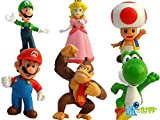 Sannysis 6pcs Brand New Mini Super Mario Bros 1.5~2.5' Action Figures Doll Toy Gifts
