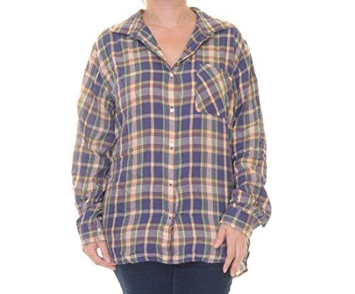 Denim and Supply Women's Boyfriend Plaid Chest Pocket Long Sleeve Hi-Low Button Down Shirt, Brown/Navy, XS