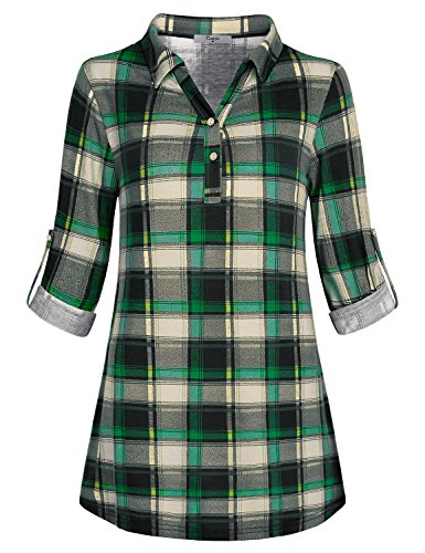 Printed Blouses Women, Cestyle Ladies Quarter Sleeve Tops Plaid Knit Peasant Dressy Polo V Neck Shirt Trendy Loose Fit Button Down Tee Draped Tunic Shift Office Business Casual Clothing Autumn Green M