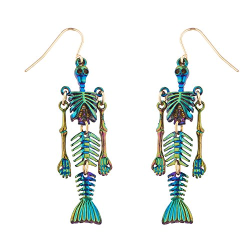 (Lux Accessories Multicolored Rainbow Colored Mermaid Skeleton Gold Tone Earrings)