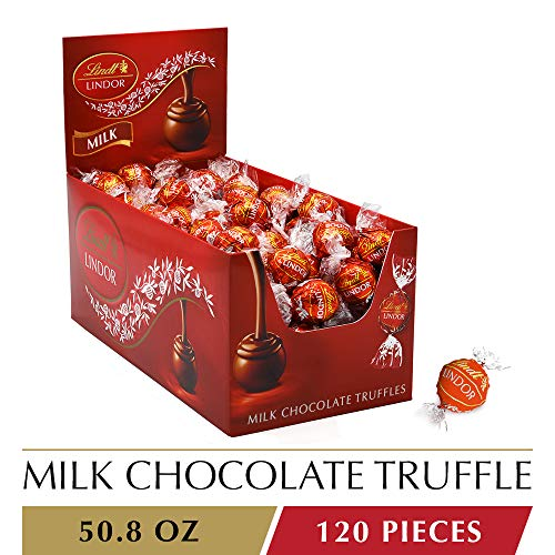 Lindt LINDOR Milk Chocolate Truffles, Kosher, 120 Count, 50.8 Ounce -