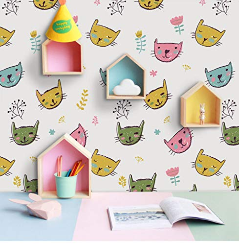 (Huanxidp Wall Stickers Cartoon Cats Mural Art Wallpaper Roll PVC Self Adhesive Wall Stickers for Kids Room Childs Bedroom Home Decor 53Cmx122Cm)