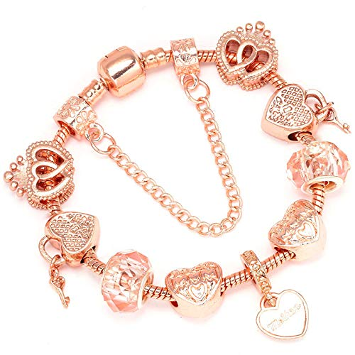 Women Bracelet Unique Rose Gold Crystal Charm Bracelet Beads Braceletd Bangle 02 21cm