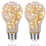 wall bulb cover - DORESshop A19 Vintage Edison Bulb, 2W Globe String Light Bulb, E26 Base Decorative Antique Filament LED Starry Fairy Lights, Indoor Hanging Lights for Christmas Festival-Warm White, 2Pack