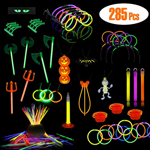 LaRibbons Glow-in Dark Party Supplies, 285 Pack Glow Sticks in Bulk with Bracelets, Necklace, Glasses, Magic Wands and -