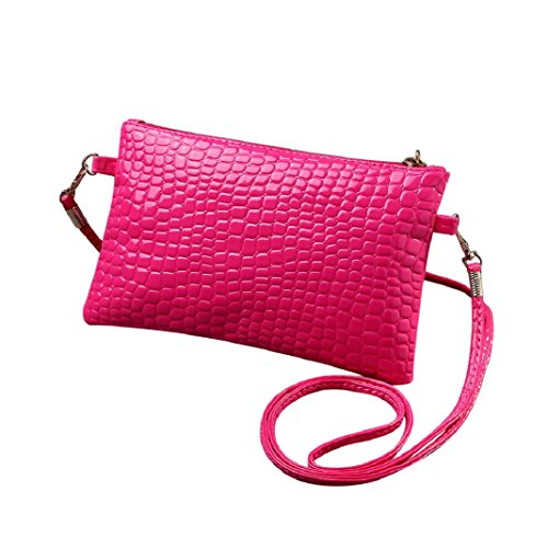 ShenPr Women Casual Mini Leather Crocodile Alligator Patten Lightweight Zipper Crossbody Shoulder Bag Handbag (Hot Pink)