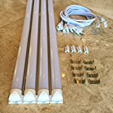 """4-Pack 48"""" LED Tube Daylight 4-foot Long Integrated T8 LED Tube Light Fixture - 6500K - 24W LED (=180 Watt) with US Plug and Linkable Connection"""