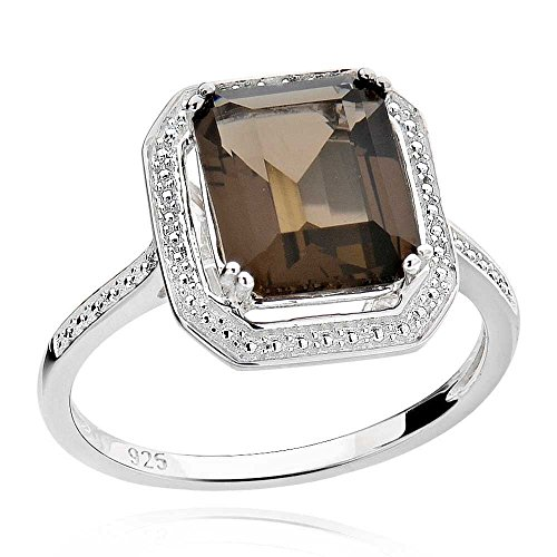 [Sterling Silver Emerald-Cut Smoky Quartz Solitaire Ring Sz 7] (Emerald Cut Smoky Quartz Ring)