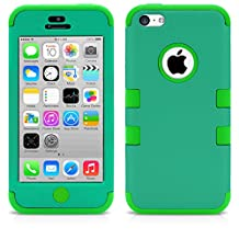 iPhone 5C Case, MagicMobile® Hybrid Impact Shockproof Cover Hard Armor Shell and Soft Silicone Skin Layer [ Dark Green - Greem] with Free Screen Protector / Film and Pen Stylus
