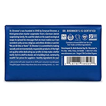 Dr. Bronner s – Pure-Castile Bar Soap Peppermint, 5 Ounce, 8-Pack – Made with Organic Oils, for Face, Body and Hair, Gentle and Moisturizing, Biodegradable, Vegan, Cruelty-Free, Non-GMO