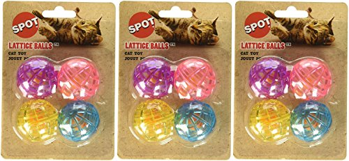 Ethical Pet 12 Pack Lattice Balls With Bells for Cats (3 Packages each Containing 4 Balls)