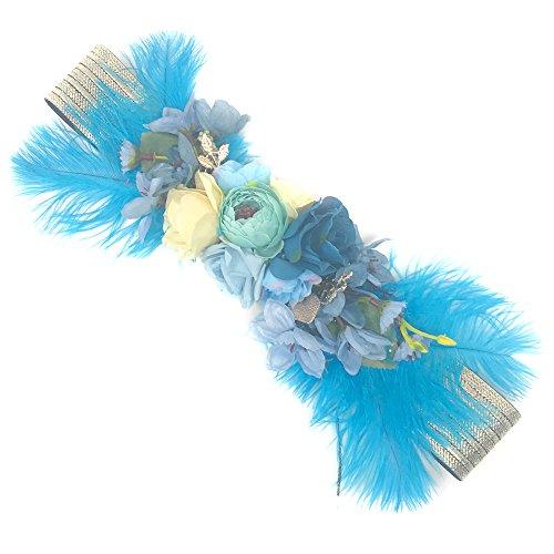 Ever Fairy moda flor cinturones para mujer niña dama de honor vestido de satén cinturón boda fajas cinturón de la pluma tela elástica cinturón accesorios G