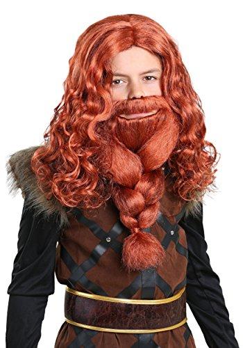 Kids Red Viking Wig and Beard Set Standard
