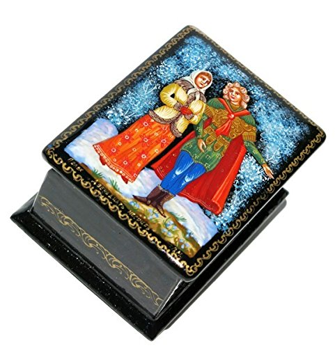 April Russian Palekh Miniature Art Collectible Hand Painted Lacquer Box (Painted Lacquer Hand Art)