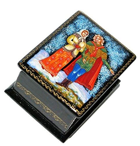 April Russian Palekh Miniature Art Collectible Hand Painted Lacquer Box (Hand Art Painted Lacquer)