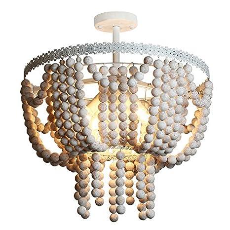 Lovedima Vintage Style 4 Light White Frame Rustic Round Wood Beads