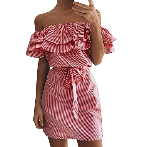 HGWXX7 Women's Sexy Plus Size Off Shoulder Striped Party Mini Dresses with Belt (L, Red) from HGWXX7