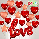 """24 Valentines Day Decoration Foil Large Size Balloons 23'' X 29'' Red LOVE Letter, 14"""" Gold Hearts and Stars for Holiday Decorations, Engagement Proposal Party Favor Supplies and Wedding Anniversary Décor."""