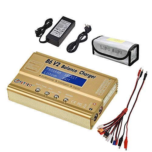 LiPo Battery Charger 1S-6S Balance Discharger Digital Battery Pack Charger for NiMH/NiCD/Li-Fe Packs w/LCD Display Hobby Battery Chargers w/Tamiya/JST/EC3/HiTec/Deans Connectors + Power Supply