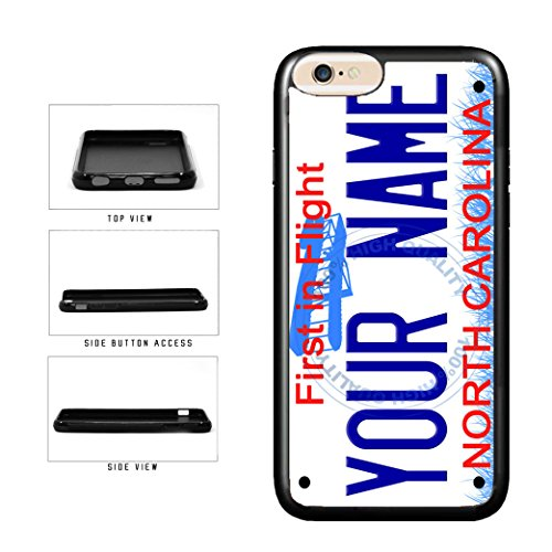 BleuReign(TM) Personalized Custom Name North Carolina State License Plate TPU Rubber Silicone Phone Case Back Cover for Apple iPhone 8 Plus and iPhone 7 Plus ()