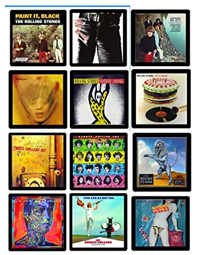 (Rolling Stones Collectible Coaster MEGA Gift Set ~ (12) Different Album Covers Reproduced on Soft Pliable Coasters)