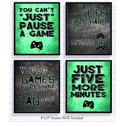 Video Game Themed Art Print Room Wall Decoration (Set or Four) Gamer (Green) by Silly Goose Gifts