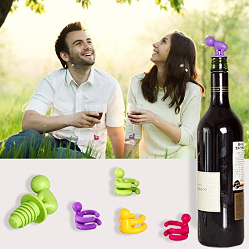 Creative Small Drunkard Wine Bottle Stopper Six Wine Glass Cup Marker Silicone Wine Cap