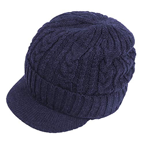 (Original One Men Wool Blend Cable Knitted Visor Beanie Winter Knit Hat with Brim Fur Lined Ski Cap (Blue))