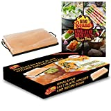 "Himalayan rock salt plate, holder and book set. 8""X12""X2"". FDA approved cooking grade plate with an easy to carry tray and a unique cookbook with rock salt plate recipes from BBQ Squad"