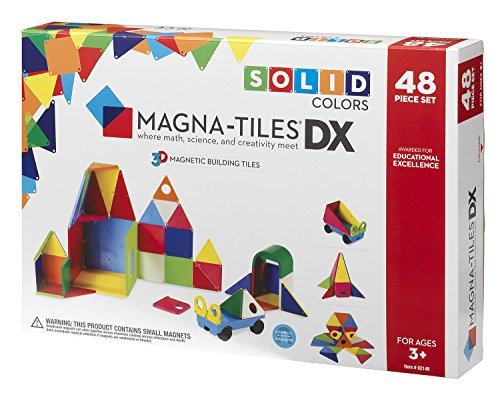 Magna-Tiles 48-Piece Solid Colors Deluxe Set, The Original, Award-Winning Magnetic Building Tiles for Kids, Creativity and Educational Building Toys for Children, STEM Approved ()