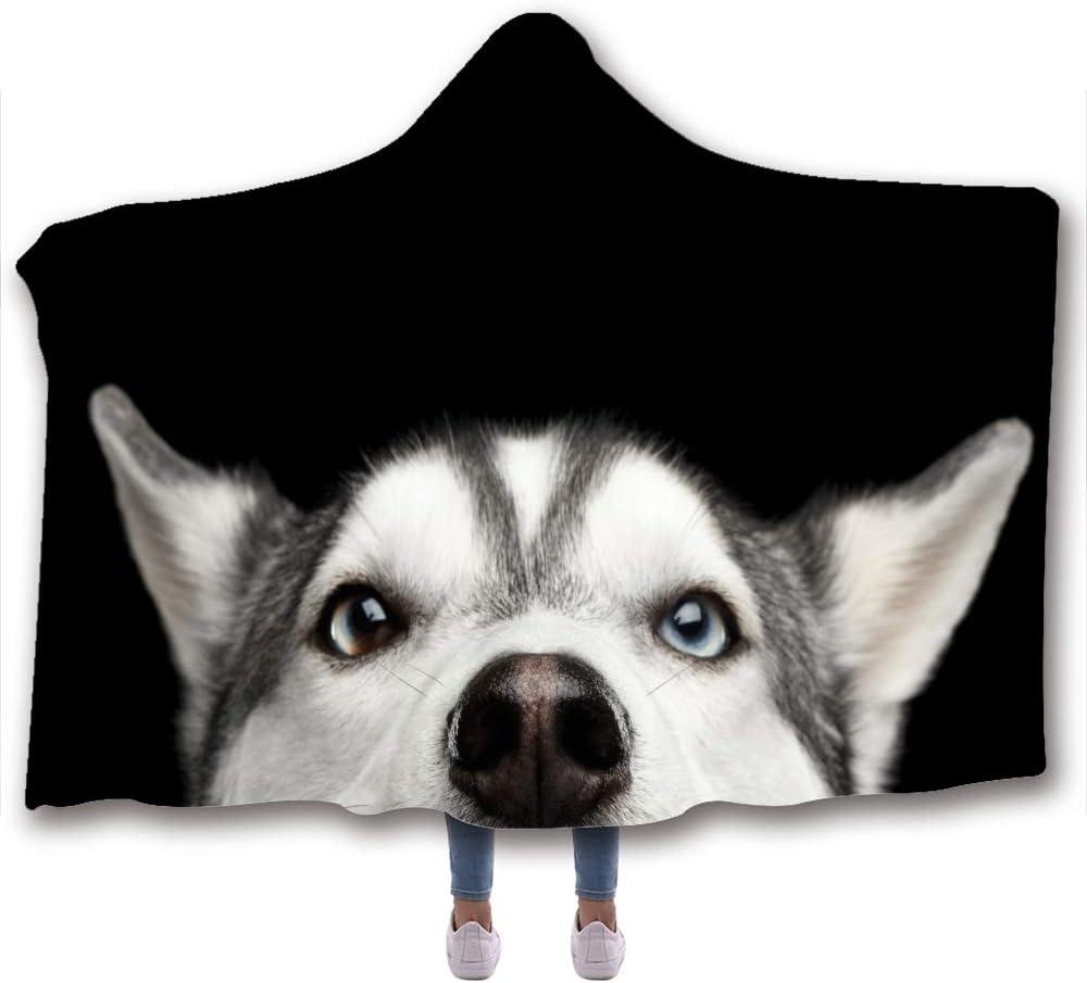 Fancyart Hooded Blanket, 3D Pattern Animal Dog Print Cloak, Bed Linings Tv Children's Blanket, 150X130CM