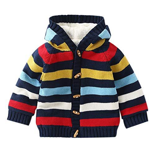 Baby Boys Girls Striped Long Sleeve Sweaters Cardigan Outwear Hooded Jacket
