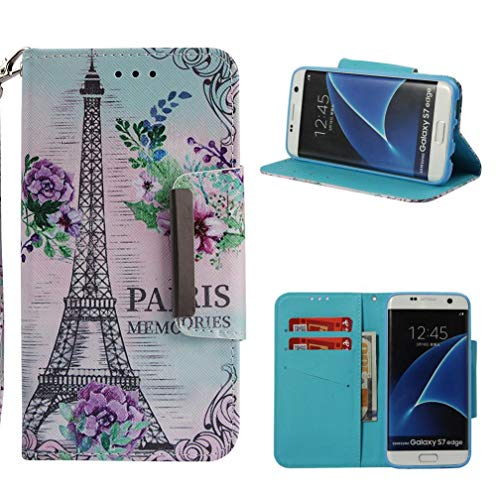 Firefish Galaxy S7 Edge Case,[Shockproof] Durable 3D Printing PU Leather [Kickstand] Wallet Case Inner Rubber Bumper Full Protective Cards Holder for Girls for Samsung Galaxy S7 Edge -Eiffel Tower