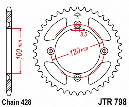 JT Sprockets JTR798.48 48T Steel Rear Sprocket