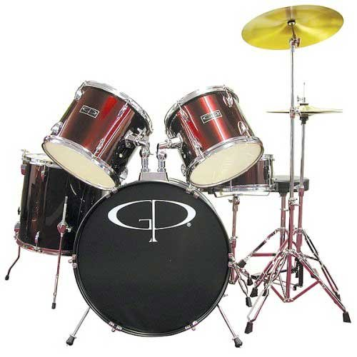 gp-percussion-gp100wr-5-peices-player-drum-set-wine-red