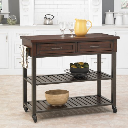 Home Styles Cabin Creek Chestnut Kitchen Cart, Wood Top, Poplar Solids, Mahogany Veneers, Two Drawers, Two Shelves, Towel Bar, Casters