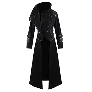 Amazon.com: Hooded Trench Party Costume Tailcoat Long Sleeve ...