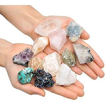 Top Plaza Mineral Rock Variety Tumbled Rough Gemstone Meteorite Fragment Healing Energy Raw Crystal Collection Bulk(5 pcs Rough Irregular Shape Stones)