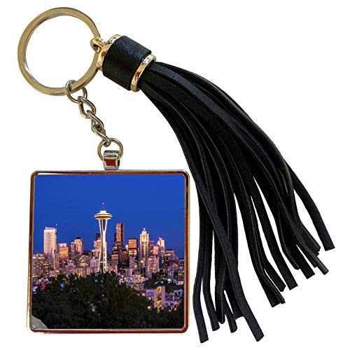 3dRose Danita Delimont - Cities - USA, Washington State, Seattle, Seattle Skyline at Dusk - Tassel Key Chain (tkc_279770_1) (Best Drive From Seattle To Vancouver)