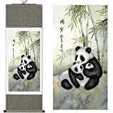 "MODEBESO Silk Chinese Painting panda Home Decorate Calligraphy Scroll Hanging Art Gift (H40"" X W12"")"