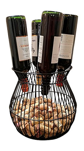 Gianna's Home Metal Wine Barrel Cage Cork and Bottle Holder