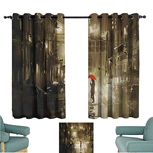 DONEECKL Decor Curtains Urban Woman with Red Umbrella in Street at Rainy Night in Town Shadow Urban Scenery Artwork Thermal Insulated Tie Up Curtain W55 xL45 - Agatha Umbrella