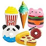 MALLMALL6 6Pcs Jumbo Food Squishy Set Hamburger, Popcorn, Pizza, Ice Cream, Donuts X2 Creamy Scent Kawaii Soft Toys, Great Gift for Kids and Adult
