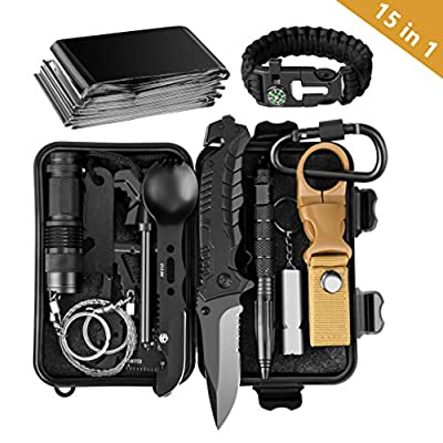 Lanqi 15 Pieces Survival kit, Professional Emergency Camping Gear, Outdoor Multifunctional Tool, Upgrade Compact Survival Gear, Tactical Survival Tool for Cars, Camping, Hiking, Hunting, Adventure Acc from Lanqi
