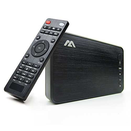 AGPTEK 1080P Media Player Read USB drive/SD card with HD HDMI/AV/VGA Output for RMVB/ MKV /JPEG etc with Remote Control    ()